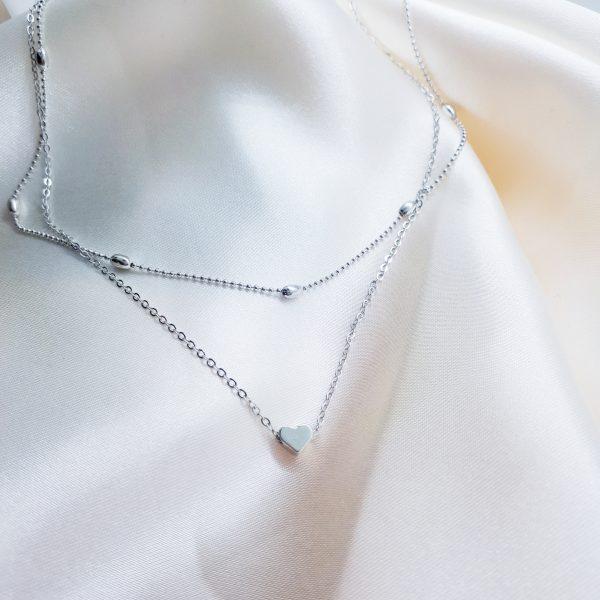 minimalistische heart choker silver