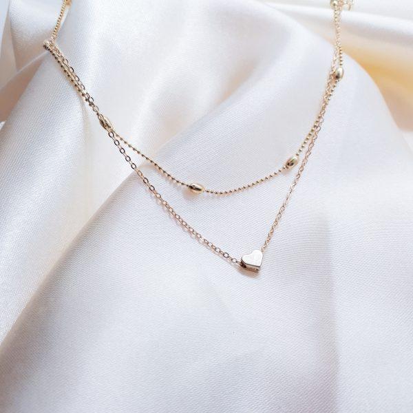 minimalistische heart choker gold