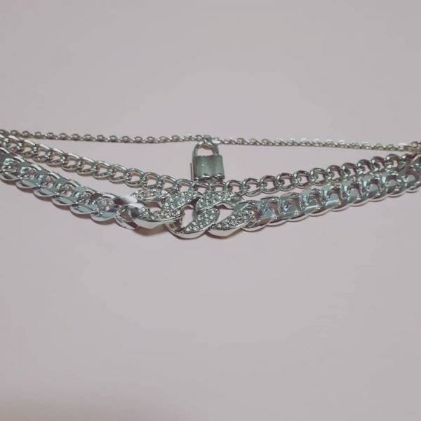 Strass schakel armband zilver