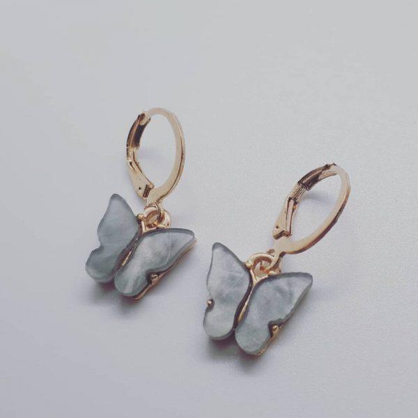 Butterfly earrings grey