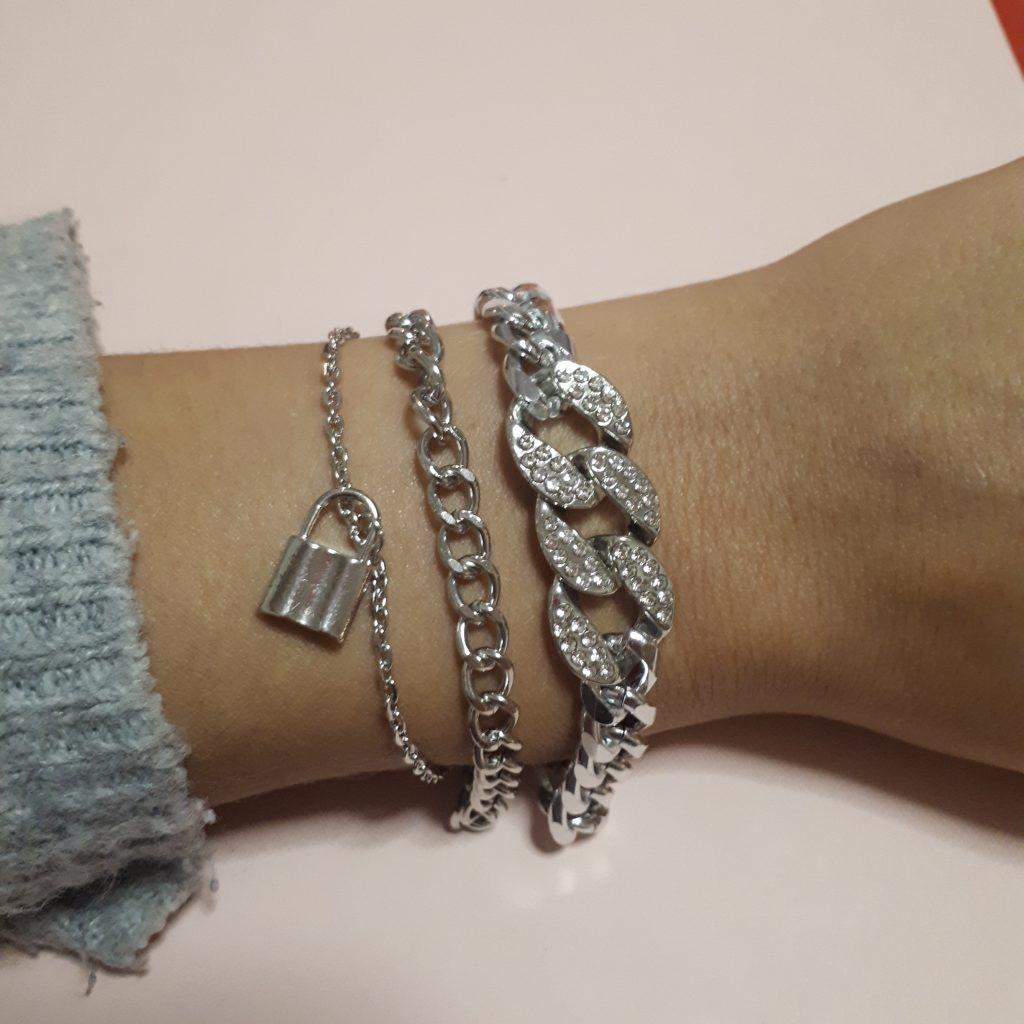 silver strass chain bracelet