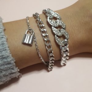 zilver kleurige Strass schakel armband