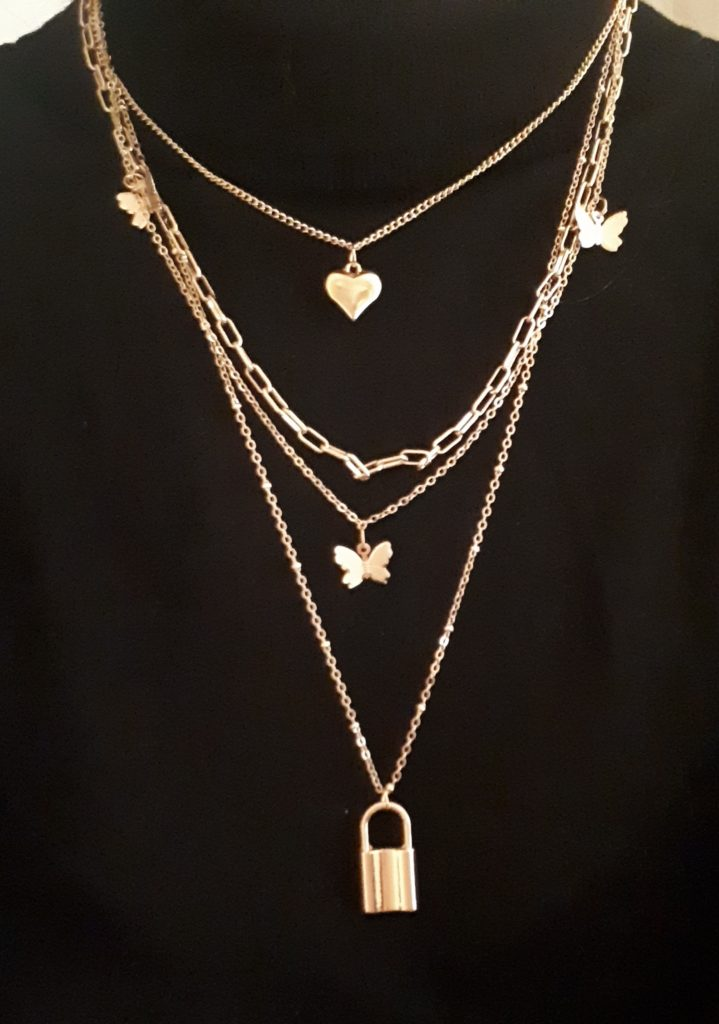 layer heart lock necklace