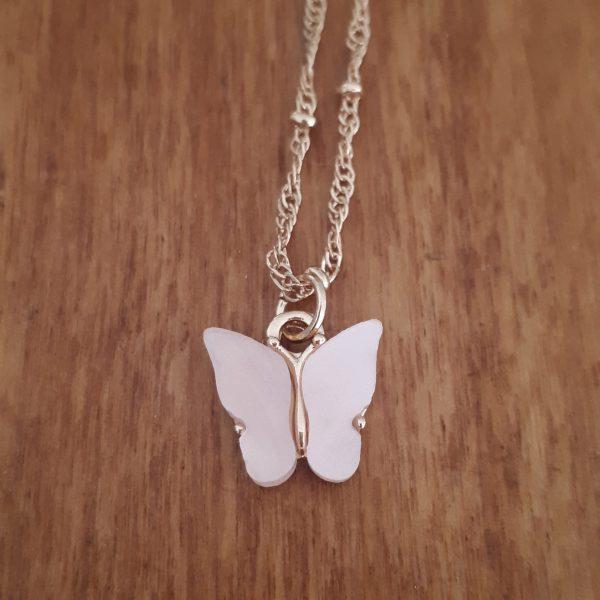 vlinder ketting roze
