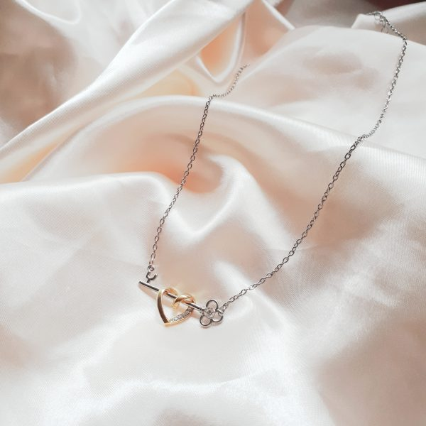 Strass Hart Charm Necklace