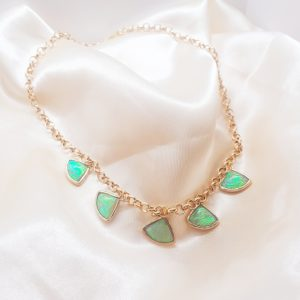 Green holo statement necklace