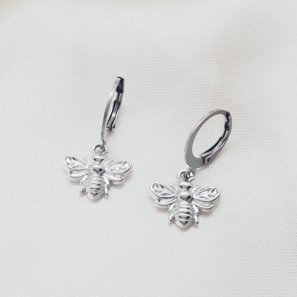 Bee earings silver