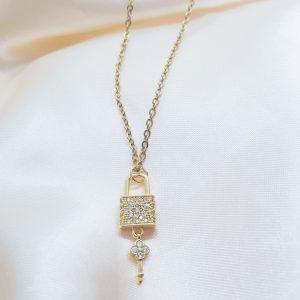 Lock & Key charm necklace