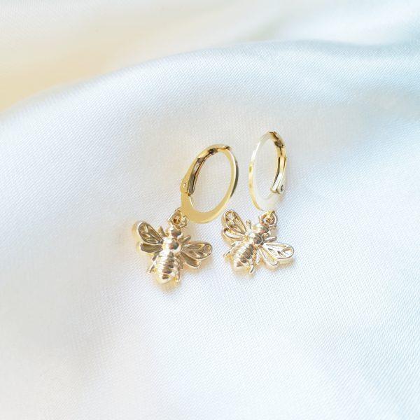 Bee earings gold