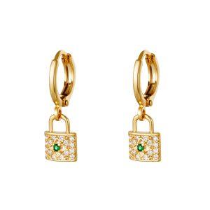 strass lock earrings gold