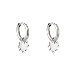 Strass heart earrings silver