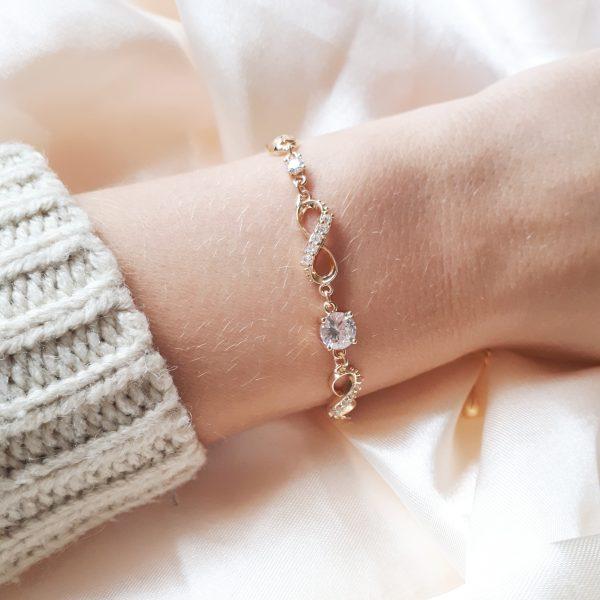 infinity strass bracelet gold