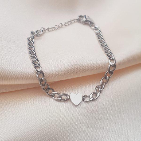 heart chan bracelet silver