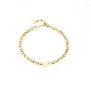 heart chain bracelet gold