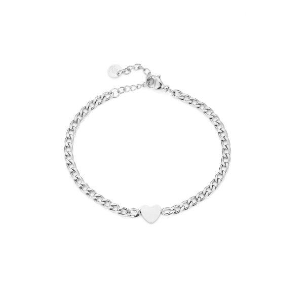 heart chain bracelet silver
