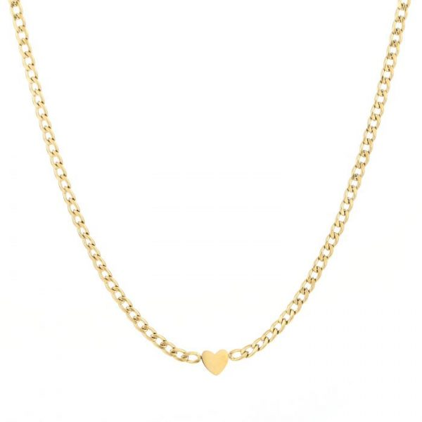 heart chain necklace gold