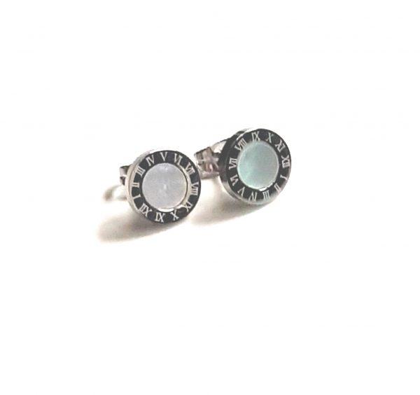 romeinse cijfers oorbellen silver white