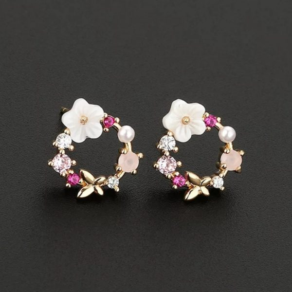 flower power earrings gold