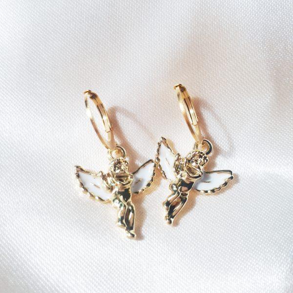 Guardian angel earrings white