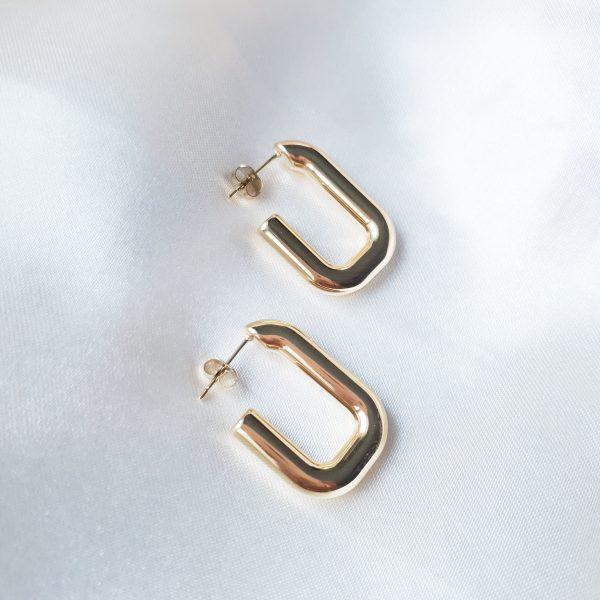 square hoop earrings gold