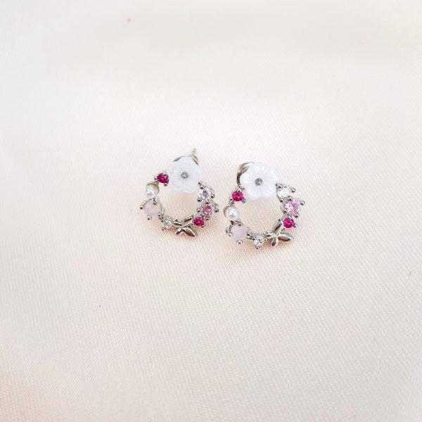 flower power earrings silver