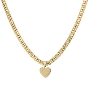 chunky heart chain necklace gold