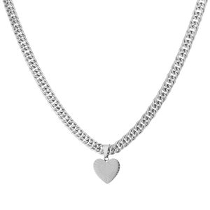 chunky heart chain necklace silver