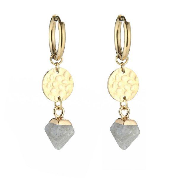 coin stone earrings grey