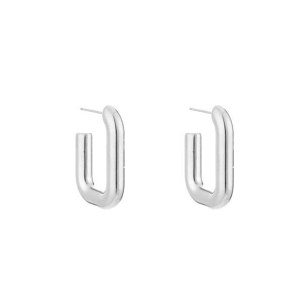 square hoop earrings silver