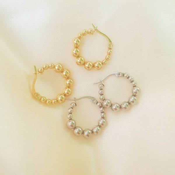 steel pearl hoops