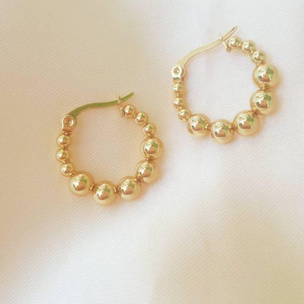 steel pearl hoops gold