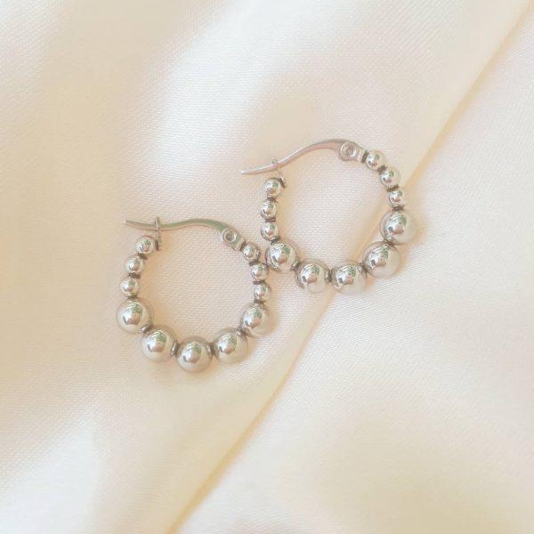 Steel pearl hoops silver