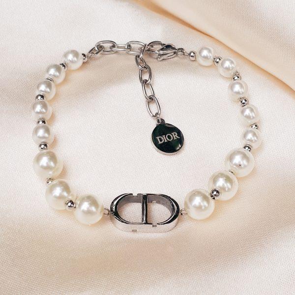 CD pearl bracelet silver