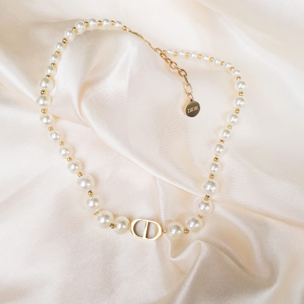 CD pearl necklace gold