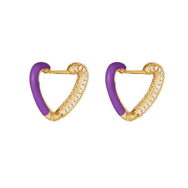 love me earrings purple