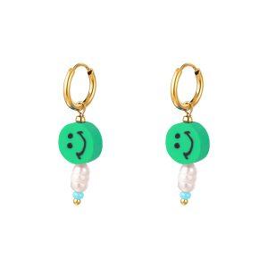 smiley earrings green