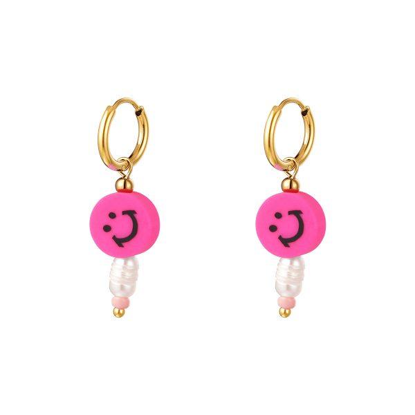 smiley earrings pink