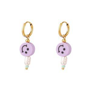 smiley earrings purple