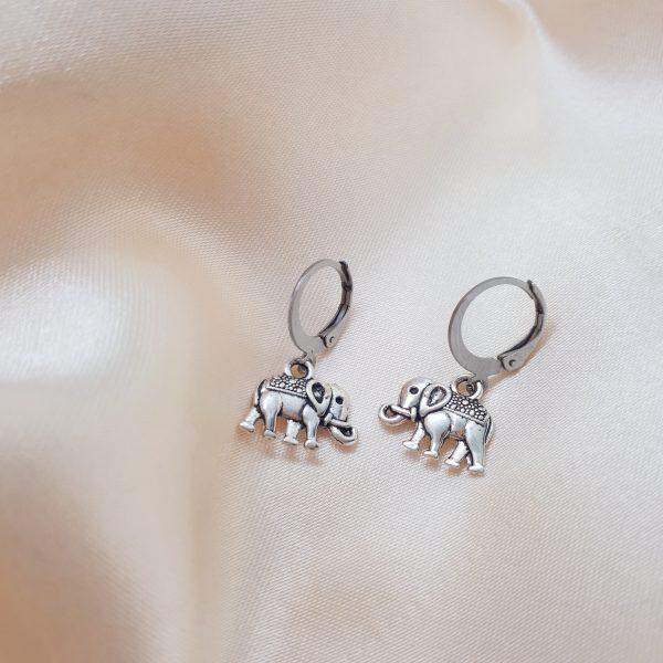 elepahant earrings silver