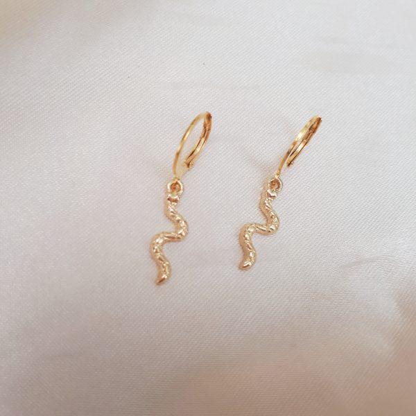 tiny snake earrings gold