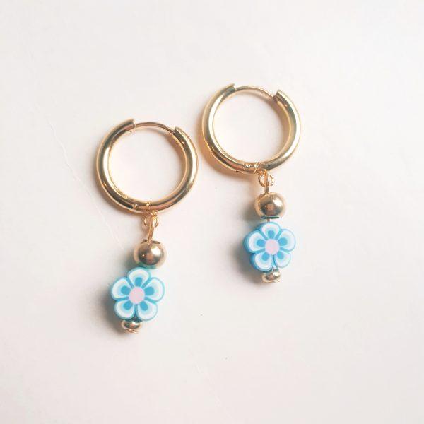 flower earrings blue