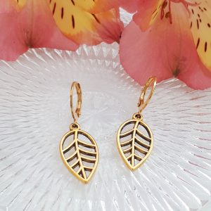 leaf earrings gold
