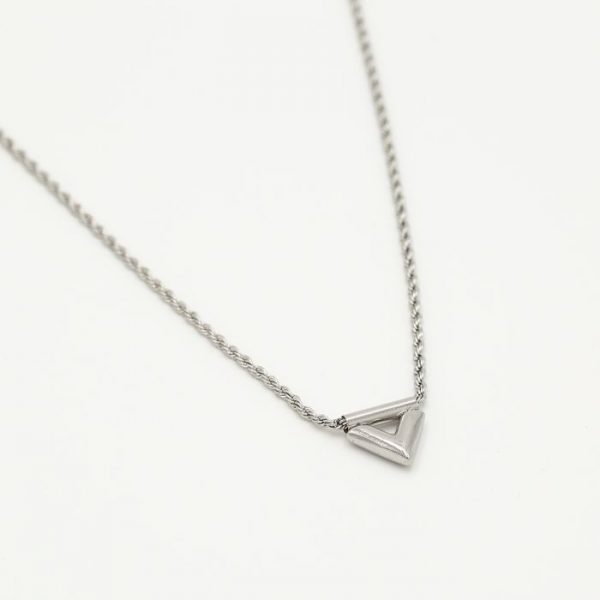 twisted v necklace silver