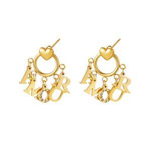 amour heart earrings gold