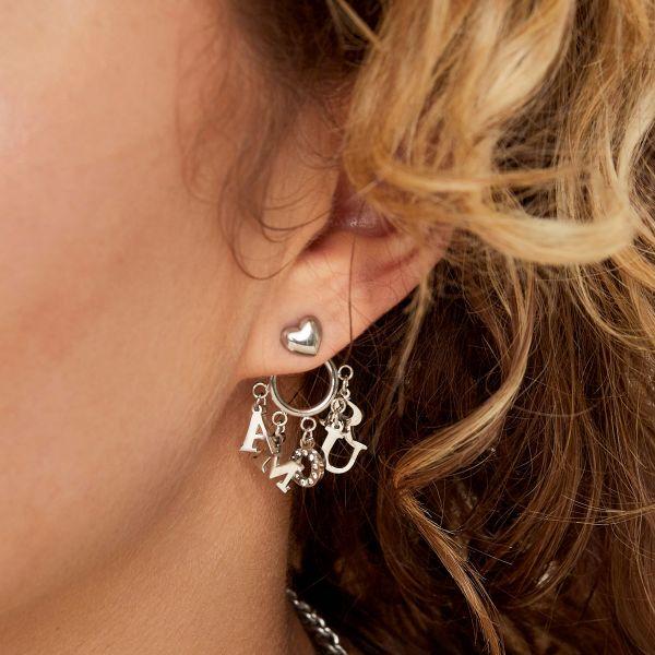 amour heart earrings silver