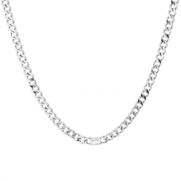 Chunky Crystel Chain Necklace silver