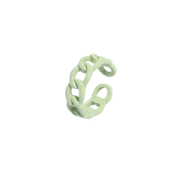 Color chain ring pastel green