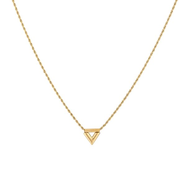 twisted v necklace gold