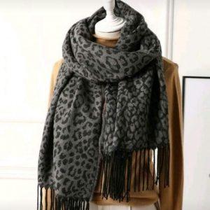 sjaal leopard grey