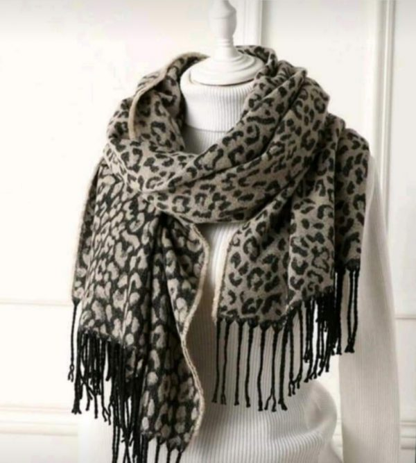 sjaal leopard beige